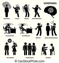慢性, 精神分裂症, 無秩序, icons., 脳