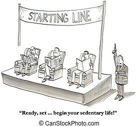 慣于久坐的人, 開始, 生活