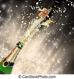 慶祝, 主題, 由于, 飛濺, 香檳酒