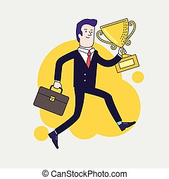 慶祝, 商人, 藏品, 胜利者, 杯子, 戰利品, 以及, running., 事務, 成就, concept., 套間, 風格, 矢量, illustration.
