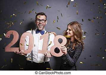 慶祝, 新年, 在, 演播室 射擊