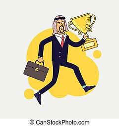慶祝, 阿拉伯語, 商人, 藏品, 胜利者, 杯子, 戰利品, 以及, running., 事務, 成就, concept., 套間, 風格, 矢量, 插圖