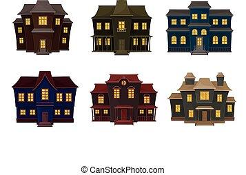 憂うつである, 窓, セット, ベクトル, 黄色, 家, 光沢がある