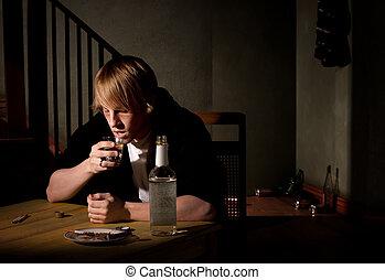 憂うつにされた, 人, アルコール, 若い
