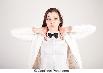 憂うつにされた, 女性実業家, 若い, 強調された