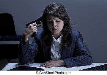 憂うつにされた, 女性実業家, 行く, へ, 約束しなさい, 自殺