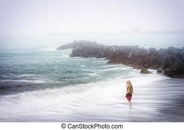 憂うつ, そして, 悲しさ, 概念, -, 女, そして, 霧が濃い, 海