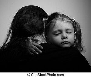 憂うつ, 娘, 抱き合う, 彼女, 母, ∥で∥, 悲しい, face., クローズアップ, 肖像画
