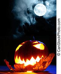 憤怒, 万圣節, 南瓜, 以及, 滿月