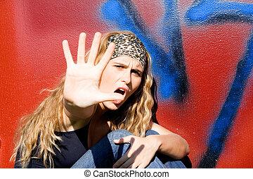 憤怒, 反叛, 青少年, 舉起手來, 到, 說沒有