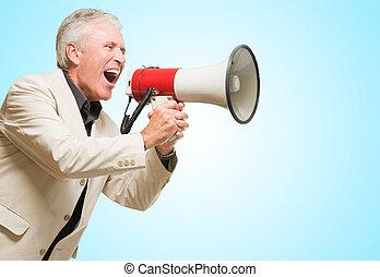 憤怒, 商人, 呼喊, 在, 擴音器