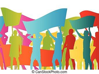 憤怒, protesters, 人群, 人們