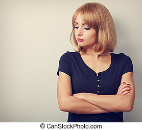 憤慨した, 不幸, 偶然, 女, ∥で∥, 不足分, ブロンドの髪, 見ること