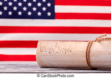 憲法, アメリカ, の上, 私達, バックグラウンド。, 旗, 終わり