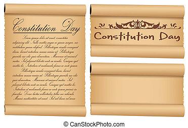 憲法, 旗, 羊皮紙, 日