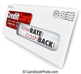懇願, 提供, 封筒, 現金, クレジット, レート, 低い, 手紙, カード, bac
