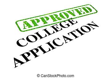 應用, 學院, 批准