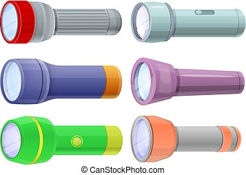 懐中電燈, セット, スタイル, 漫画, アイコン