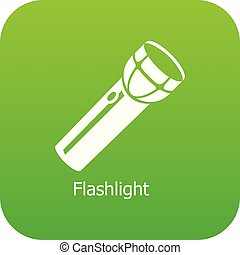 懐中電燈, ベクトル, 緑, アイコン