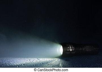 懐中電燈, 戦術的, waterdrops, 煙, 防水
