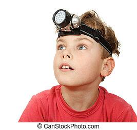 懐中電燈, 男の子, 頭, 彼の, わきに, 背景, 顔つき, 肖像画, 白