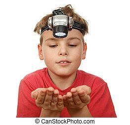 懐中電燈, 男の子, 頭, 彼の, 背景, 微笑, 顔つき, 肖像画, 白, 手, 彼