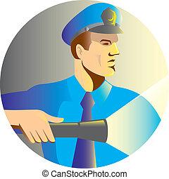 懐中電燈, 警官, トーチ, 監視, 士官, セキュリティー
