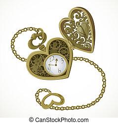 懷錶, 在, the, 形式, ......的, 心
