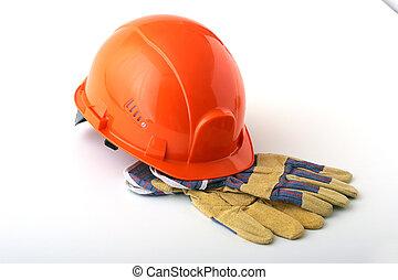 懸命に, バックグラウンド。, 手袋, 帽子, オレンジ, 安全, 白, helmet.