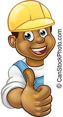 懸命に, handyman, の上, 黒, 親指, 帽子