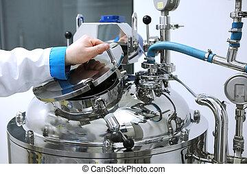懸濁液, リアクター, tablets., 薬研究, 製造, 中心, solutions., 液体, industry., 部屋, きれいにしなさい, 炉, 薬, 製造, 懸濁液, 区域, 解決, 薬局, 植物, 生産