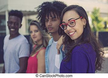 成人, 世代, 若い, 笑い, y, インターナショナル