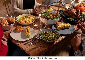成人, 友人, 家, 感謝祭, ミレニアムである, 一緒に, 祝う