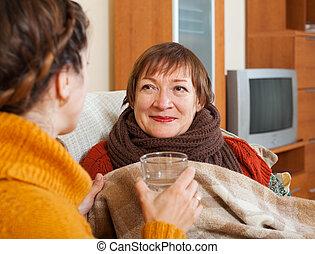 成人, 婦女, 關懷, 不舒服, 年長者, 母親
