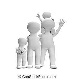成人, 家族, 2, children., 終わり, 編みなさい