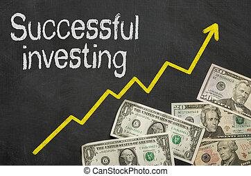 成功した, お金, -, 投資, 黒板, テキスト