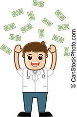 成功した, お金, 雨, 医者