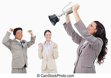成功した, カップ, 保有物, 女性実業家