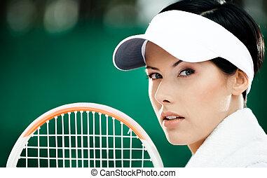成功した, テニス, の上, プレーヤー, 女性, 終わり