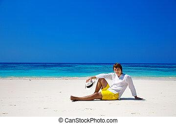 成功した, ハンサム, 帽子でやれやれ, 休息, エキゾチック, 海岸, ∥で∥, 青い水, そして, 白,...