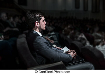 成功した, ビジネスマン, モデル, 上に, a, ビジネスの会議, 中に, ∥, 現代, 会議 ホール