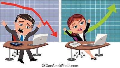 成功した, ビジネスマン, 不成功, 女性実業家