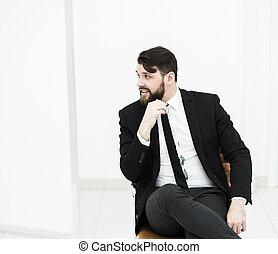 成功した, ビジネスマン, 中に, a, スーツ, モデル, 上に, オフィス椅子