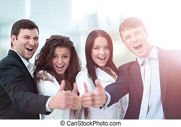 成功した, ビジネス 人々, 見る, 幸せ, そして, confident.