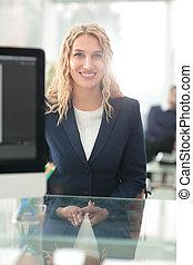 成功した, ビジネス 女, ∥で∥, 彼女, スタッフ, 中に, 背景, ∥において∥, オフィス