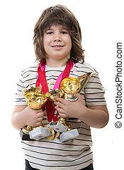 成功した, メダル, 男の子, 多数, トロフィー
