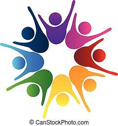 成功した, ロゴ, チームワーク, 共同体, 人々