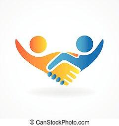 成功した, ロゴ, 握手, 人々