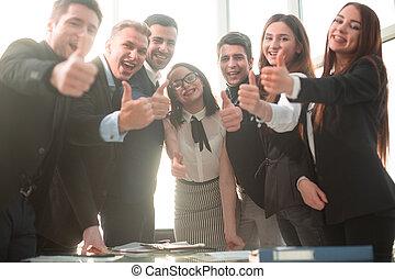 成功した, 人々, の上, 微笑, 親指, ビジネス