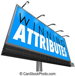 成功した, 印, 特性, qualities, 広告板, attributes, 勝利